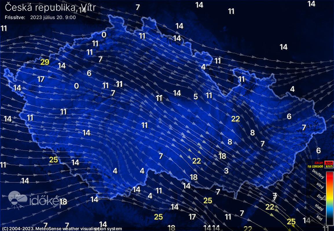 Rychlost a směr větru na území ČR